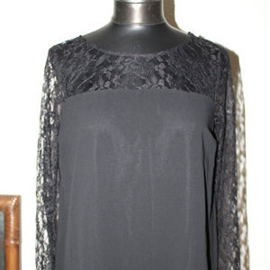 Forever 21 women black long sleeves lace dress
